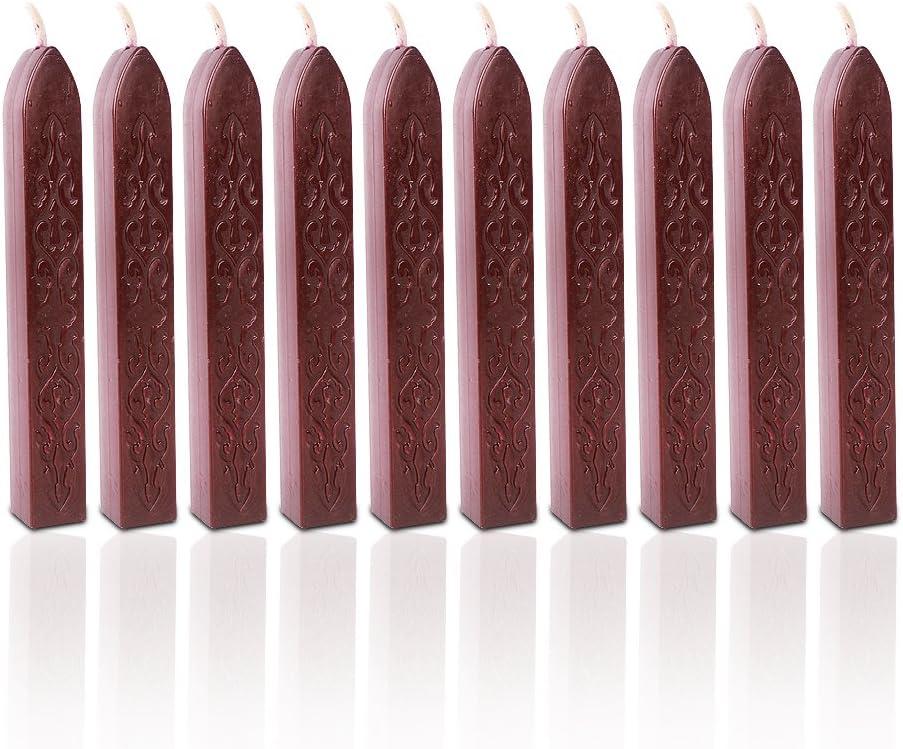Sello Sello de cera, color rojo vino 10pcs Wax Wick Sticks