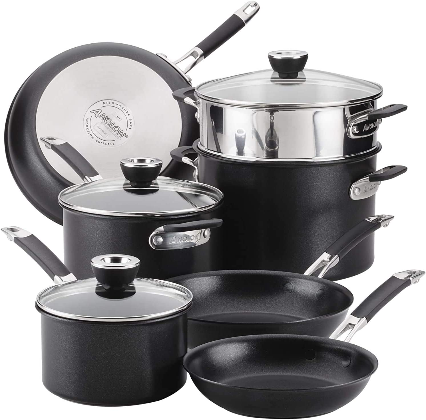 Anolon SmartStack 87537 Hard-Anodized Nesting and Ranking TOP6 Pots Set Large-scale sale Pans