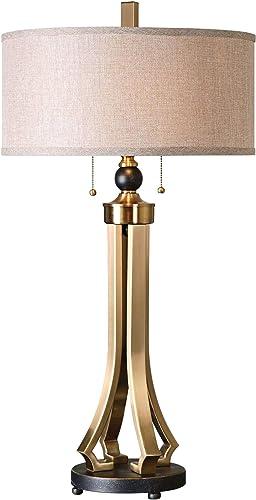 Uttermost 26631-1 Selvino Table Lamp, Brushed Brass, Beige