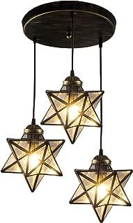 HAIXIANG Transparent Glass Moravian Star Pendant Lamp Ceiling Lighting Chandelier LED Iron Art 3 Lights Round Base Light Fixtures Bedroom Dining Room Living Room Office Restaurant Bar Cafe