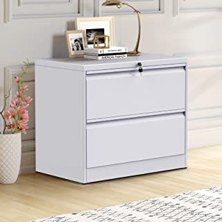 ModernLuxe File Cabinet, White Lockable Heavy Duty Metal Lateral File Cabinet with 2 Drawers