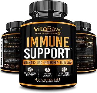 VitaRaw Immune Support Vitamins - Zinc, Elderberry, Vitamin C, Echinacea, Olive Leaf, Goldenseal | Powerful Immunity Boost...