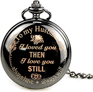 """Engraved with""""to My Husband"""" Pocket Watch Birthday Anniversary Wedding Party Gifts Personalized Quartz Pocket Watch with Chain"""