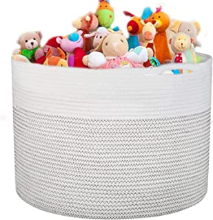 """Large Cotton Rope Basket 16.93""""x16.54"""" Woven Baby Laundry Hamper for Blankets Toys Storage with Handle Natural Color Large..."""