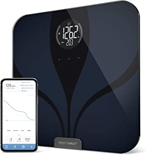 Greater Goods Smart Connected Body Fat Digital Bathroom Scale (Black-Black LCD)