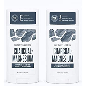 Schmidt's Deodorant Stick Charcoal + Magnesium 3.25 oz (Pack of 2) - Free of Aluminum, Vegan, Natural and Cruelty-Free