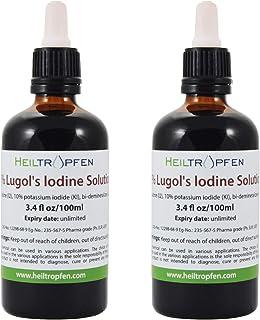 ルゴール液 2x 100ml (2本のボトル), 5%ヨウ素および10%ヨウ化カリウムで製造された。Lugol's Iodine Solution