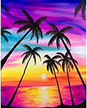 Diamond Painting Kits for Adults 5D Round Full Round Drill Art Perfect for Relaxation and Home Decor Sunset Sea Coconut Tr...