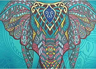 Elephant Indian Hippie Tapestry Mandala Wall Hanging Blue Bohemian Decor Psychedelic Intricate Floral Flower Wall Decor Beach Throw Bedspread Tapestries for Bedroom (82.6 x 59 inch, Elephant)