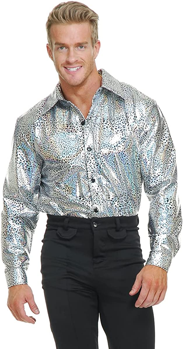 Charades - Silver Outlet SALE Glitter Shirt Free shipping anywhere in the nation Costume Disco