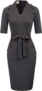 2dcd69c7ee9cc GRACE KARIN Women Vintage Short Sleeve Slim Fit Belted Business Pencil Dress