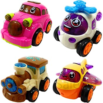 SaleON Set of 4 Unbreakable Car Toys for Kids Friction Powered Automobile Car Helicopter Plane Train Toys car Set for Kids Gift , Toys for Children Gift (Mix-Color)-938