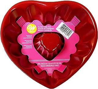 Wilton - Sartén con tubo acanalado (20 cm), diseño de corazón rojo
