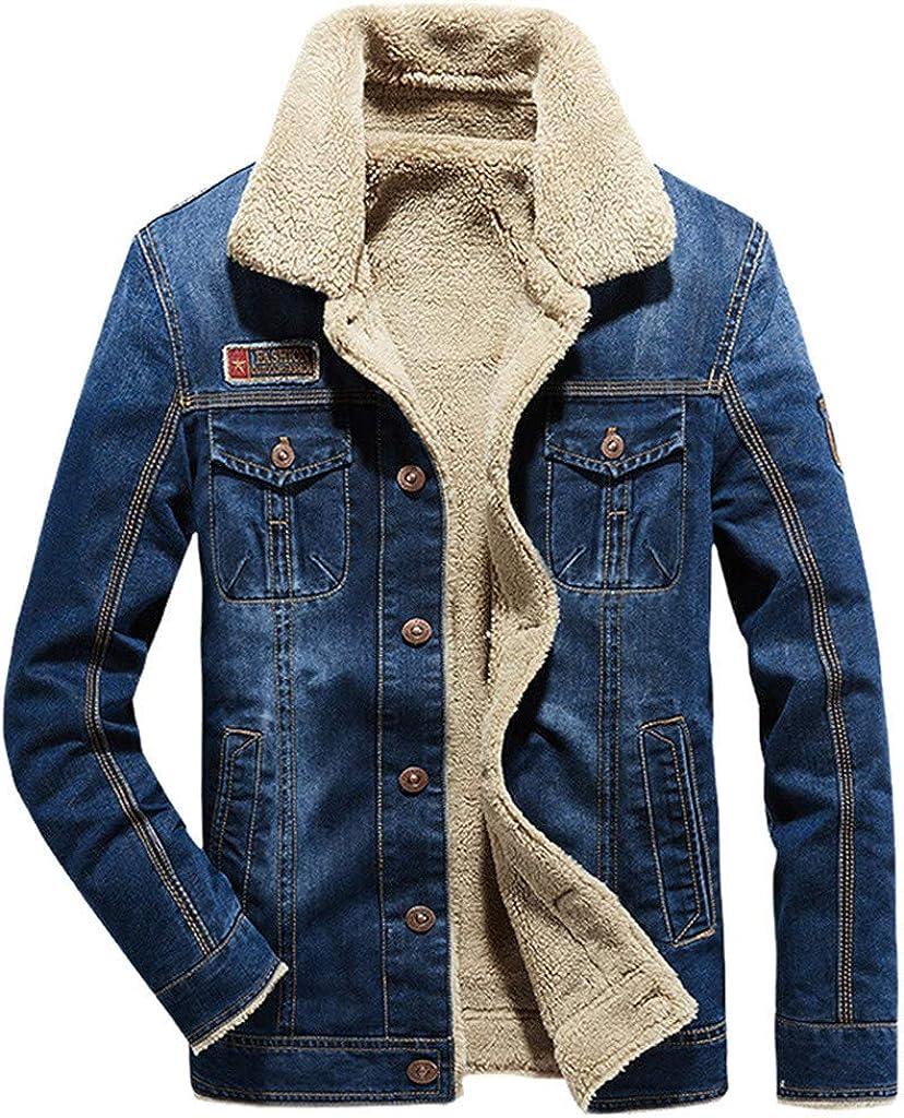 Mens Denim Jacket, Men's Retro Denim Fleece Jacket Winter Button Down Fur Collar Jeans Coat Outwear Top Blouse Winter
