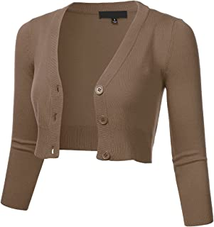 Women's Solid Button Down 3/4 Sleeve Cropped Bolero Cardigan Sweater (S-4X)
