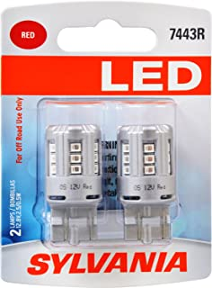 SYLVANIA - 7443 T20 LED Red Mini Bulb - Bright LED Bulb, Ideal for Stop and Tail Lights (Contains 2 Bulbs)