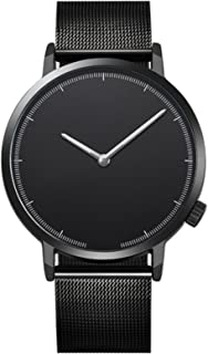 Fxbar,Minimalist Mens Watches Quartz Analog Wrist Watch Classic Milanese Mesh Band Business Wristwatch(A)