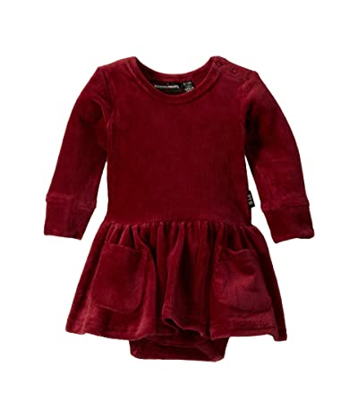 Rock Your Baby Corduroy Long Sleeve Waisted Dress (Infant) (Burgundy) Girl
