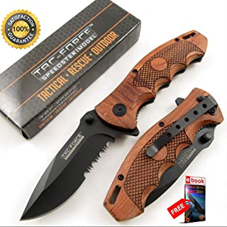 SPRING ASSISTED FOLDING POCKET Sharp KNIFE Tac-Force Black Blade Wood Tactical Serrated Combat Tactical Knife + eBOOK by Moon Knives