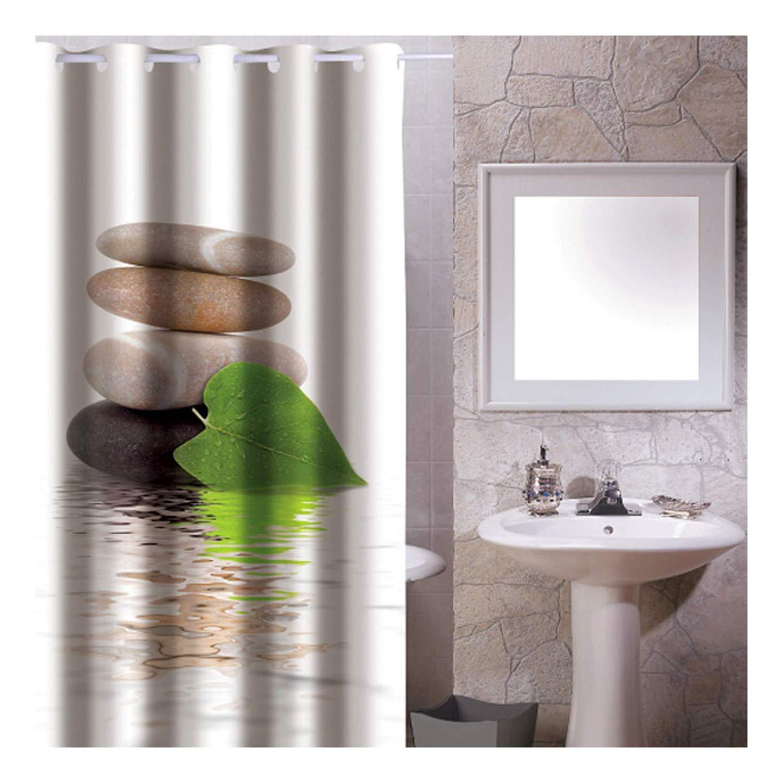 Sanixa pa159 Cortina de Ducha de Tela (180 x 200 cm Zen Piedras Impermeable |waschbar | bañera Cortina |vorhang ringen| baño: Amazon.es: Hogar