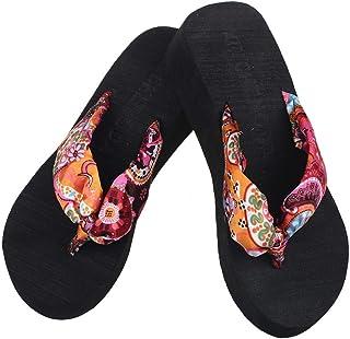 Women Flops Slippers Summer Stripe High Beach Sandals Flip