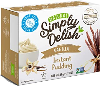Simply Delish Natural Instant Vanilla Pudding - Sugar Free, Non GMO, Gluten Free, Fat Free, Lactose Free, Keto-Friendly, 1.7 OZ (Pack of 12)