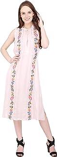 Women's Viscose Satin A-Line Midi Dress