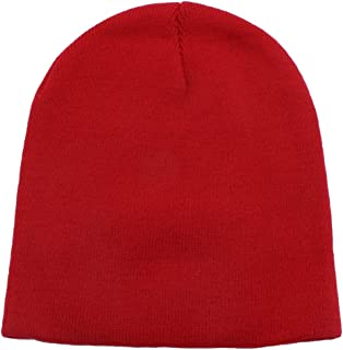 Top Level Short Plain Beanie - Winter Unisex Plain Knit Hat