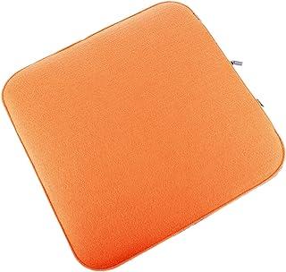 Cojín de fieltro para asiento en color naranja y marmolado reversible, con relleno, lavable, incluyecierre de cremallera. Moderno cojín de asiento para banco y silla con esquinas redondeadas, acolchado blando.Asiento acolchado de fieltro, cuadrado aprox. 35x 35cm.