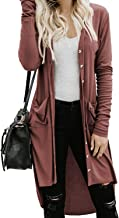 CHYRII Womens Button Down Knitted Long Sleeve High Low Cardigans Sweater with Pockets