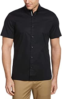 Perry Ellis Men's Untucked Stretch Solid Poplin Short Sleeve Button-Down Shirt