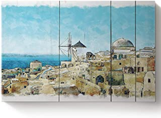 Arts Language DIY Oil Paintings Paint by Numbers Kit with Brushes for Adults/Kids Beginner Architectural Landscape Santorini, Greece Acrylic Paints on Canvas Wooden Framed Wall Art 16x20in