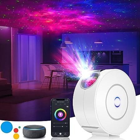 LED Sternenhimmel Projektor,3D Galaxy Projektor Light mit RGB Dimming,Smart Nachtlicht mit Alexa/Google Assistant,Unterstützt Sprachsteuerung und Timing-Funktion für Schlafzimmer/Geschenk/Party