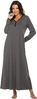 Ekouaer Womens Nightshirt Long Sleeves Nightgown, Casual Button Up Sleepwear Henley Full Length Sleep Dress
