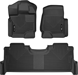 Husky Liners 53388 X-act Contour Front & 2nd Seat Floor Mats Fits 2017-19 Ford F-250/F-350 Crew Cab - with factory storage box