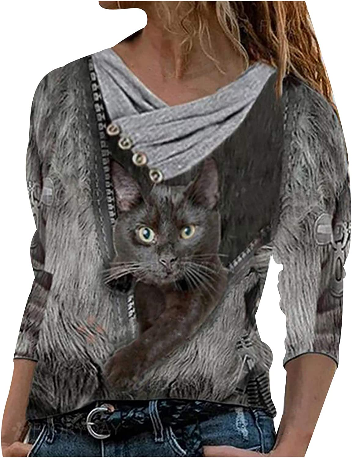 Forwelly Long Sleeve T Shirt for Women Novelty Cat Print Plus Size Tee Shirt V Neck Tunic Top Blouse