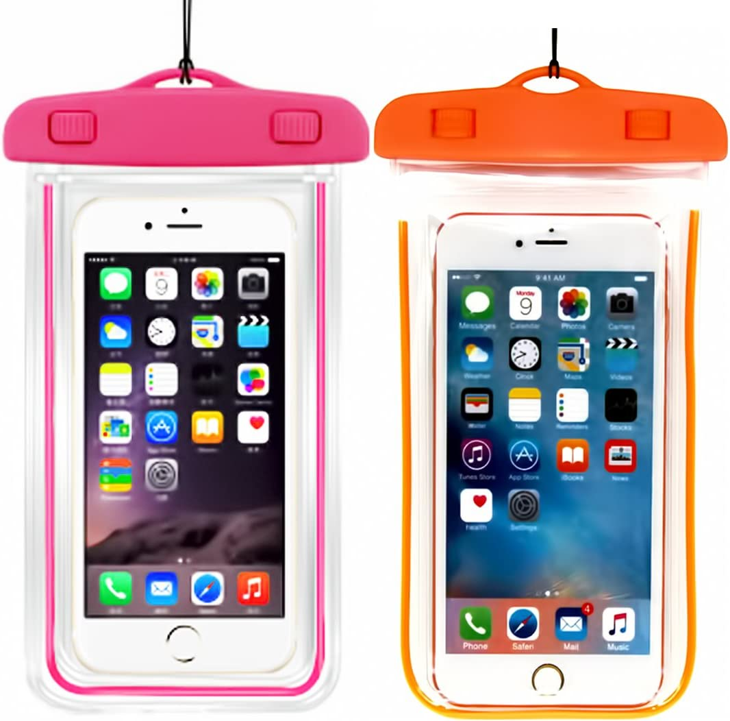 (2Pack) Universal Waterproof Case, Cellphone Dry Bag Pouch Compatible with iPhone 7 6s 6 Plus, SE 5s 5c 5, Galaxy s8 s7 s6 Edge, Note 5 4,LG G6 G5,HTC 10,Sony Nokia up to 6.2