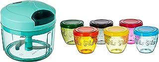 Amazon Brand - Solimo Amazon Brand Wonder Bowl with Snapfit Lid, 220 ml, Set of 6, Multicolour & Vegetable Chopper (Large, 725ml) Combo