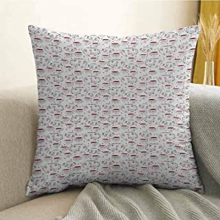 FreeKite Bedding Soft Pillowcase Hypoallergenic Pillowcase Doodle Style Crockery Illustration of Floral Patterned Kettles and Cups W16 x L24 Inch Red Black White