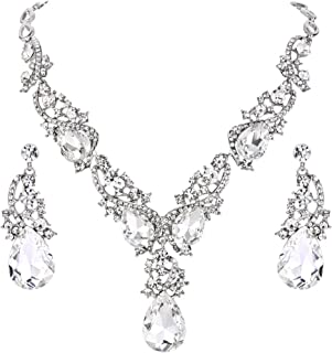 Clearine Women's Wedding Bridal Crystal Multi Teardrop Cluster Statement Necklace Dangle Earrings Set