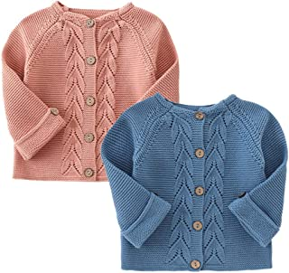 YOUNGER STAR Kids Infant Baby Girl Sweater Long Sleeve Button Down Knitted Sweater Cardigan Coat 3-24 Months