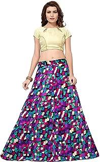 Indian Dresses Store Julee Women's Banglori Satin Semi-Stitched Lehenga Choli Blue