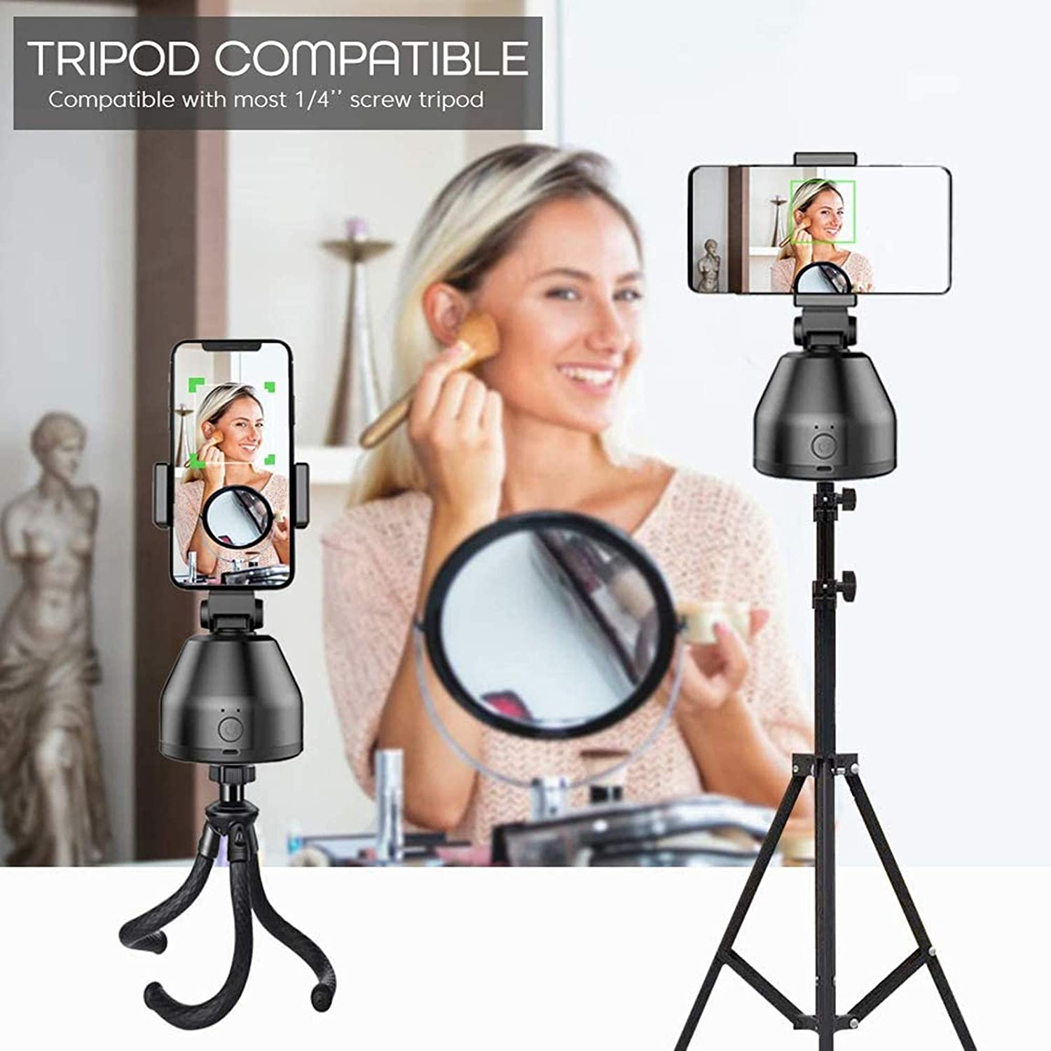 Black Yizieco Selfie Stick 360/° Rotation Smart Gimbal Phone Stabilizer Rechargeable Camera Mount Portable Robot Cameraman for Livestreaming /& Vlog Shooting Compatiable for iOS Android