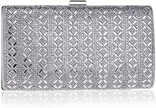 ZYWYB Women Wedding Clutch Rhinestone Sequin Evening Bags Vintage Crystal Beaded Cocktail Party Party Purse (Color : Silver)