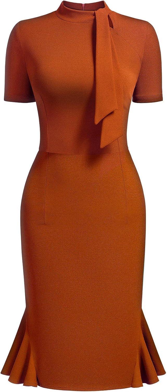 AISIZE Women's 1950s Vintage Tie Neck Cocktail Bodycon Pencil Dress