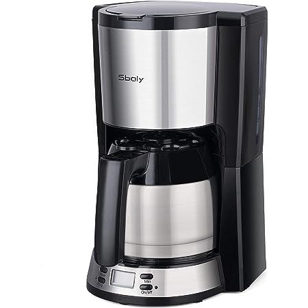 Sboly Macchina da Caffè con Caffettiera Termica in Acciaio Inox, Macchina da Caffè Programmabile, Grande Capacità Regolabile da 2 a 8 Tazze, Funzione Antigoccia, Compatibile con Caffè Macinato