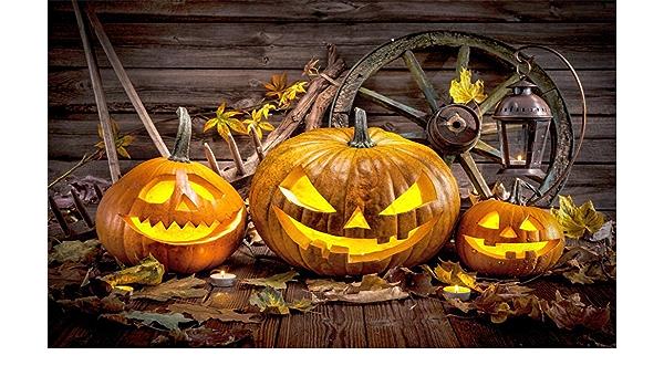 Leowefowa 7X5FT Halloween Backdrop Old Barn Scary Grimace Pumpkin Lantern Wooden Wheel Backdrops Maple Leaves Grunge Wooden Wall Vinyl Photo Background Autumn Backdrop Costume Party Studio Props