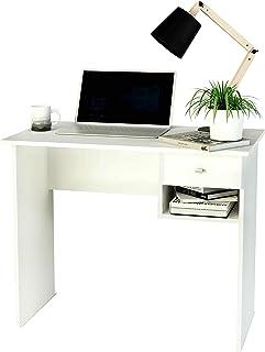 comprar comparacion Samblo S-9906B Hana - Escritorio con Cajón, Mesa de Estudio de 90 cm de Ancho, Melamina, color Blanco