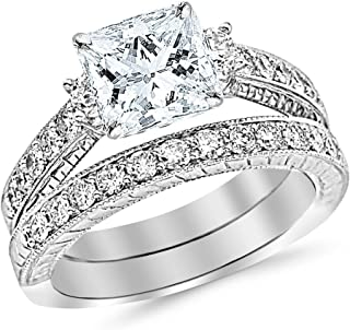 1.62 CTW Three Stone Vintage With Milgrain & Filigree Bridal Set with Wedding Band & Diamond Engagement Ring w/ 0.59 Ct GIA Certified Princess Cut F Color VS2 Clarity Center