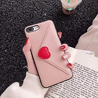 Twinlight Luxury Heart New Embroidery Leather Fashion Hot Cute Pink Case for iPhone 7 Plus 7 8 X Phone Heart (Pink, for iPhone 7 8)